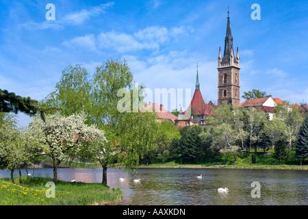 Podmestsky Rybnik a Kostel sv Petra a Pavla Caslav Ceska Republika - Stock Photo