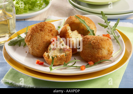 Potato Croquettes with Ham Cheese and Spinach - Stock Photo