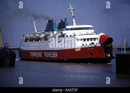 Townsend Thoresen passenger ferry, Zeebrugge, Belgium. - Stock Photo
