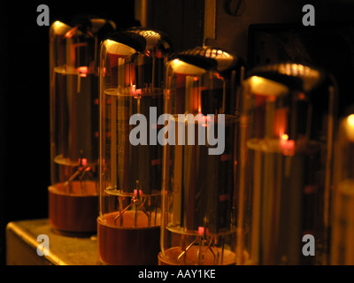 Electronic valves, or tubes, in an amplifier. - Stock Photo