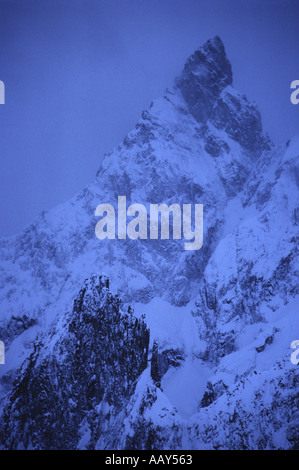 Aiguille Blanche de Peuterey in clearing storm at nightfall from Torino Hut Cormayeur Italy - Stock Photo