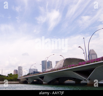 Singapore river Anderson Bridge - Stock Photo