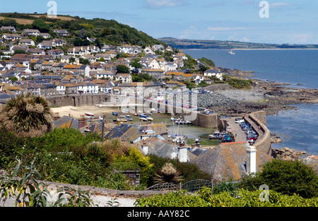 A view over the harbour at Mousehole in Cornwall England UK - Stock Photo
