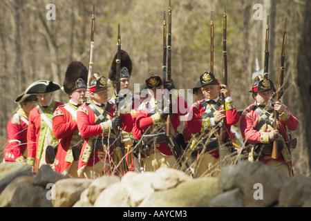 British regulars wait for battle on the frontline Minute Man National Historical Park Massachusetts