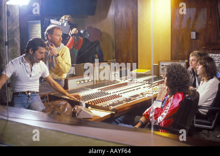 Freddie Mercury lead singer rock group Queen in control room 22 October 1980 with Brian May and others from the - Stock Photo