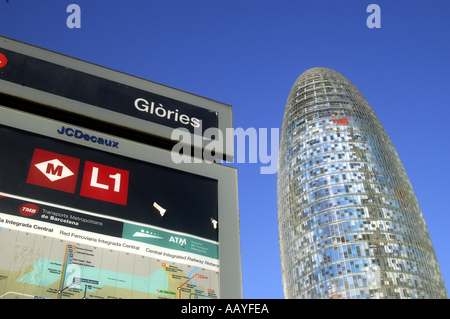 Torre Agbar or Agbar Tower a 142 metre skyscraper designer by architect Jean Nouvel  - Stock Photo