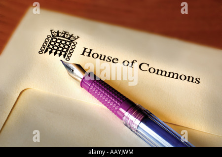 House of Commons MP letter writing - Stock Photo