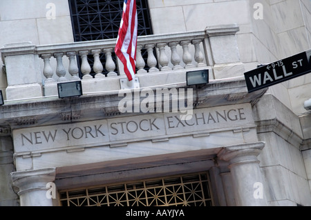 Wall Street entrance to New York Stock Exchange building - Stock Photo