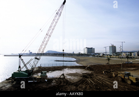 Building work on the beach in Barcelona for the 1992 Olympic Summer Games - Stock Photo