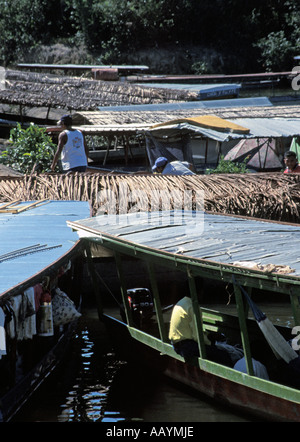 Boats moored in the Keralan backwaters. - Stock Photo