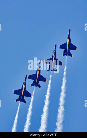 United States Navy Blue Angels FA18 Hornet Fighter Jets In Precision Team Flight During Air Show Thunder Over Louisville - Stock Photo