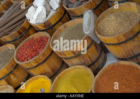 [Wooden barrels] of spices in old town Ed Dahar region Hurghada - Stock Photo