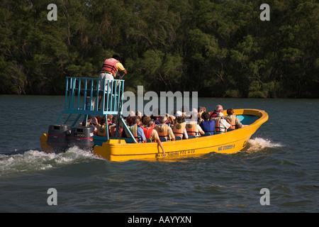 Tourists on boat, Sumidero Canyon trip, Rio Grijalva, near San Cristobal de las Casas, Mexico - Stock Photo