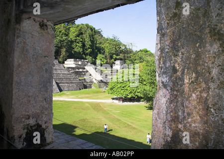 Templo XIII, Temple XIII, from El Palacio, The Palace, Palenque Archaeological Site, Palenque, Chiapas, Mexico - Stock Photo