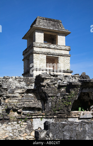 The Observatory, El Palacio, The Palace, Palenque Archaeological Site, Palenque, Chiapas, Mexico - Stock Photo