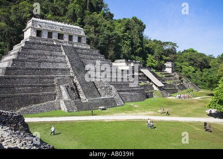 Temple of the Inscriptions and Temple XIII, Palenque Archaeological Site, Palenque, Chiapas State, Mexico - Stock Photo