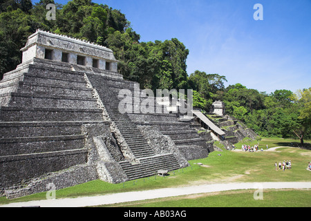 Temple of the Inscriptions, Temple XIII, Calavera Temple, Palenque Archaeological Site, Palenque, Chiapas, Mexico - Stock Photo