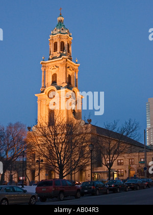 Cathedral of Saint John the Divine, Milwaukee, Wisconsin at dusk - Stock Photo