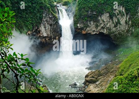 San Rafael Falls, the highest falls in Ecuador, between Baeza and Lago Agrio - Stock Photo