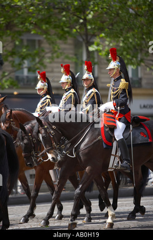 French Cavalry Presidential escort on the Champs Elysses Paris France - Stock Photo