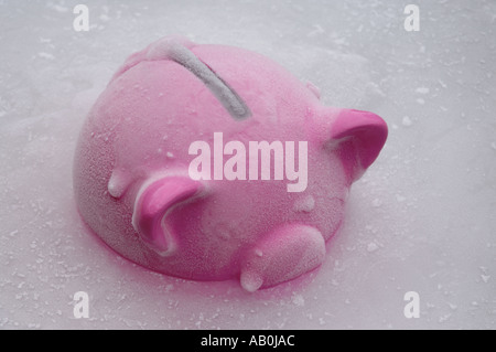 Pink piggy bank set in ice - Stock Photo