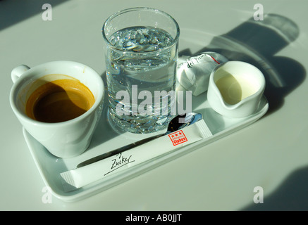 A coffee set in morning light - Stock Photo