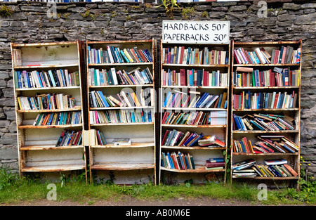 Open air honesty bookshop at Hay Castle Hay on Wye Powys Wales UK - Stock Photo