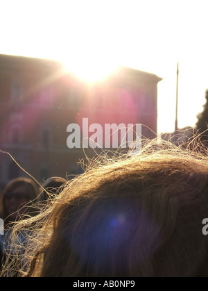 woman's hair backlit in sun - Stock Photo