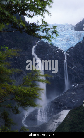 Hanging Glacier in Queulat National Park, Chile - Stock Photo