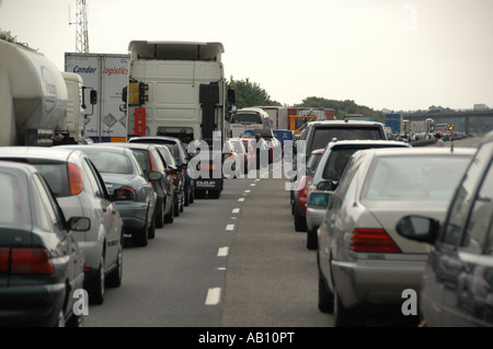 Traffic queue on the M40 southbound near Banbury due to a vehicle accident, England - Stock Photo