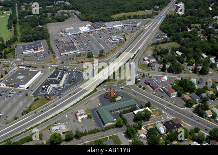 Aerial view traffic circle Somerville New Jersey USA - Stock Photo