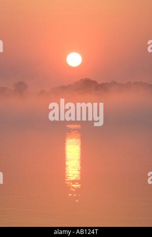 Misty Sunrise over Hickling Broad UK Norfolk Broads Hickling