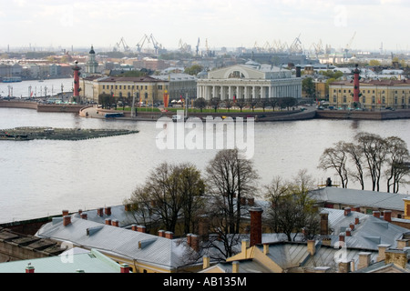 Old Saint Petersburg Stock Exchange and Rostral Columns. St Petersburg - Stock Photo