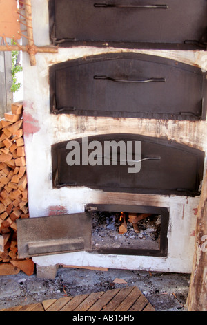 old wood burning oven close up in Bavaria Germany - Stock Photo