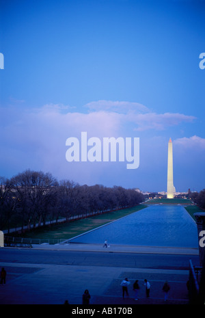 Washington Monument and Reflecting Pool in the early evening twilight as seen from the Lincoln Memorial Washington - Stock Photo