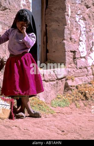 Child on Isla Taquile Lake Titicaca Peru - Stock Photo