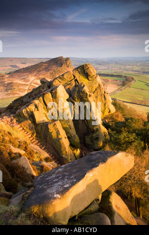 Evening Light on The Roaches and Hen Cloud, Peak District National Park, Staffordshire, England, UK - Stock Photo