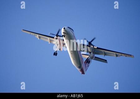 DeHavilland DHC 8 Dash 8 turbo prop airplane British Columbia Canada - Stock Photo