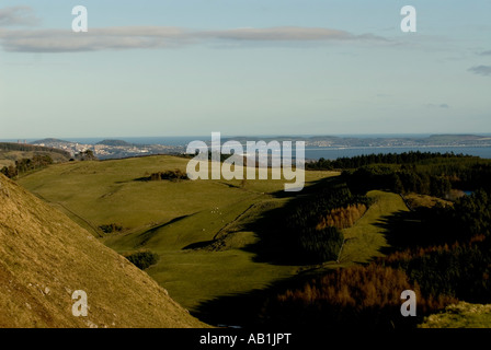 River Tay and Dundee City view from Sidlaw Hills - Stock Photo