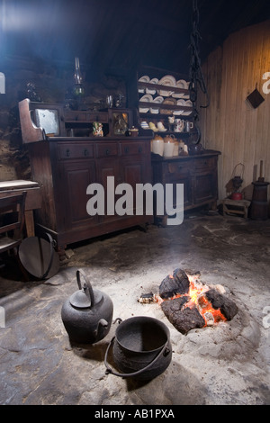 UK Scotland Western Isles Outer Hebrides Lewis Arnol blackhouse museum room interior - Stock Photo
