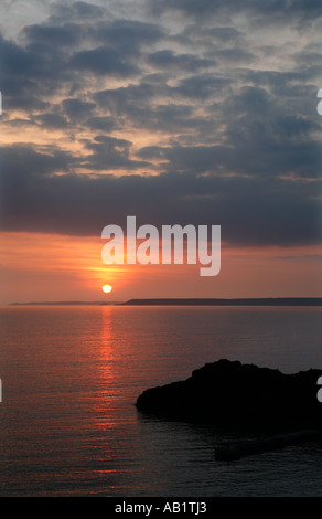 Sunset over Hope Cove - Stock Photo