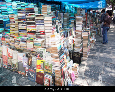 Outdoor book stall near University Road Mumbai India - Stock Photo