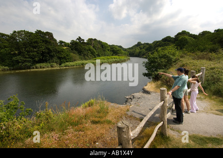 Family looking at the River Teifi at Wildlife and Wetlands Centre Cilgerran Pembrokeshire near Cardigan west Wales - Stock Photo