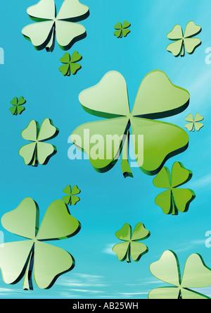four leafed clover vierblaettriges Kleeblatt Gluecksklee - Stock Photo