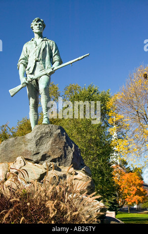 Minuteman soldier from Revolutionary War greets visitors to Historical Lexington Massachusetts New England - Stock Photo