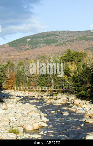Autumn stream in Crawford Notch State Park in White Mountains of New Hampshire New England - Stock Photo