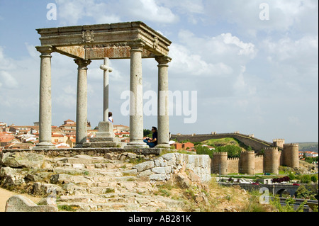 Cuatros Postes Four Pillars or Posts in the old Castillian Spanish village of Avila Spain - Stock Photo