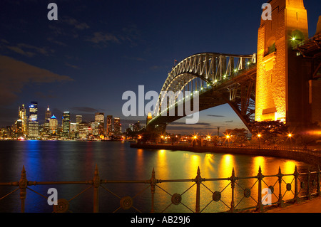 the Harbour Bridge Opera House city centre at night from Milsons Point Sydney New South Wales Australia - Stock Photo