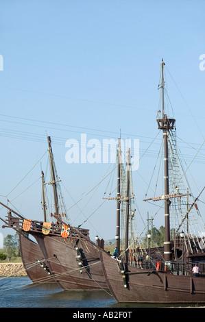 Full size replicas of Christopher Columbus ships the Santa Maria the Pinta or the Niña at Muelle de las Carabelas - Stock Photo