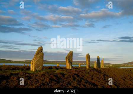dh World heritage site RING OF BRODGAR ORKNEY Neolithic standing stones henge circle scotland islands site uk stone - Stock Photo